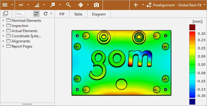 GOM Correlate Software user interface